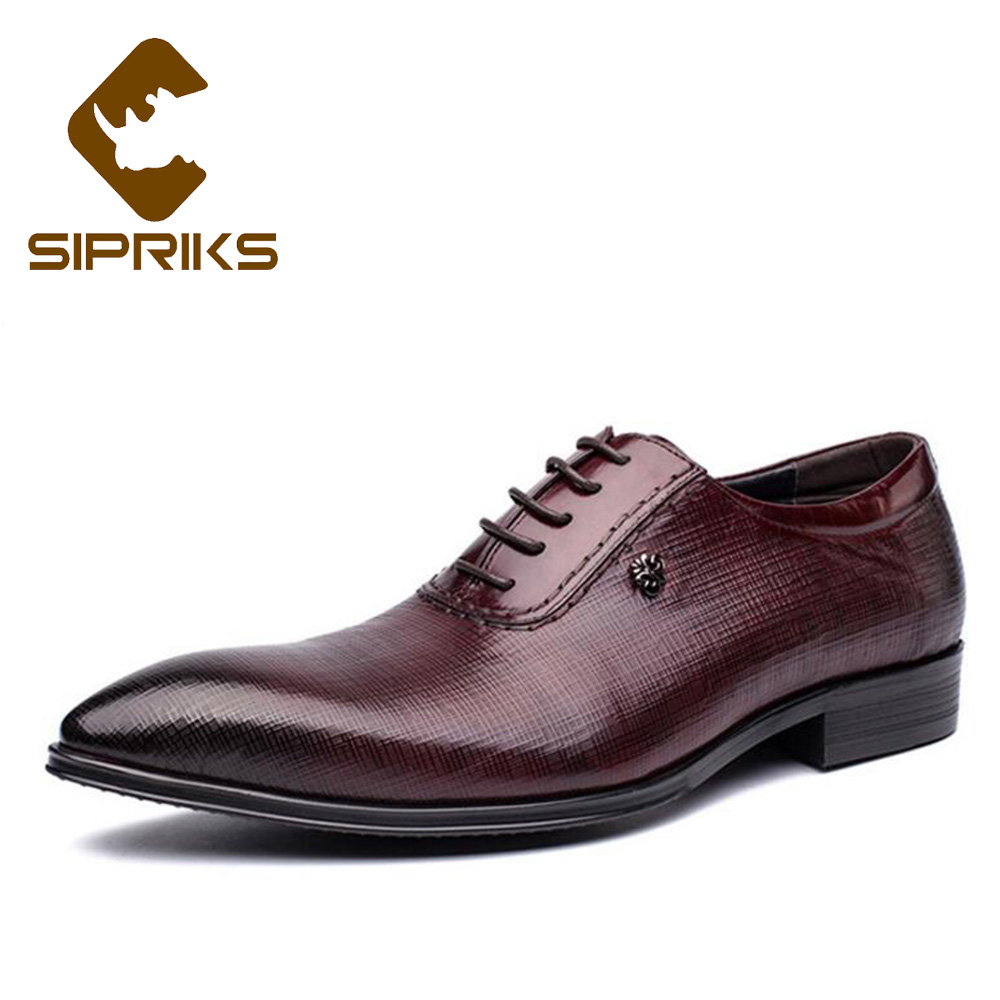 Sipriks Genuine Leather Formal Shoes Men Classic Burgundy Oxfords Pointed Toe Dress Shoes Business Shoes Men Lace Up European mycolen new arrived brand men shoes black oxfords shoes pointed toe men flat business formal shoes lace up men s dress shoes