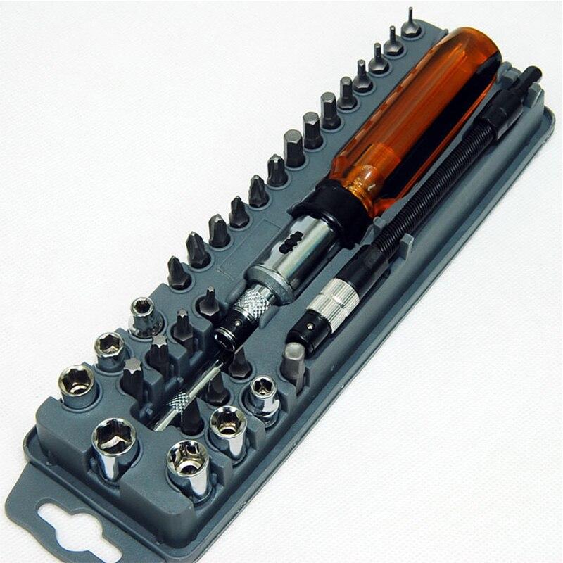 8PK-204A 33-in-1 Ratchet Screwdriver Bit Set Magnetic wrench Repair Multifunctional Screwdriver Tool 46pcs socket set 1 4 drive ratchet wrench spanner multifunctional combination household tool kit car repair tools set
