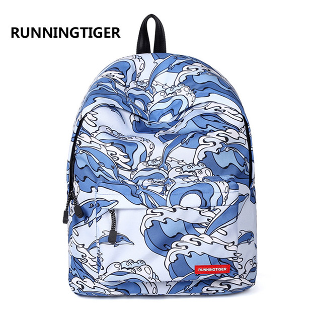 Women Dolphins Printing Large Capacity Polyester Laptop Backpack Teenager  Schoolbag Travel Bag Girl s Mochila Daypack Gift 3c3290b7aa