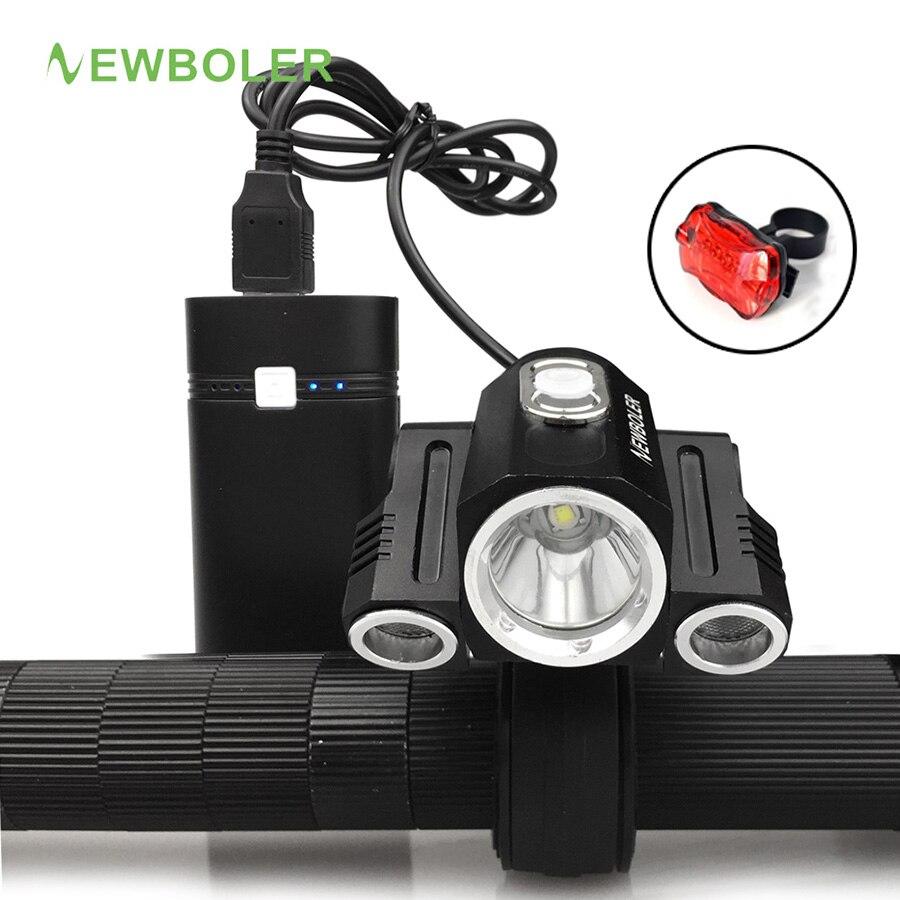 Recharable 10000LM 3x XM-L T6 LED Front Bicycle light Set USB Bike Lamp flashlight Torch + Rear Tail Light + Power Bank gaciron 1000lumen bicycle bike headlight usb rechargeable cycling flashlight front led torch light 4500mah power bank for phone