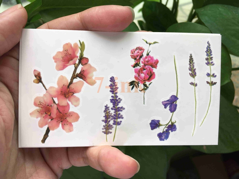 Water Transfer Tattoo Beautiful Flower Peach Blossom Lavender Camellia Harajuku Waterproof Temporary Fake Tattoo For Gril Woman