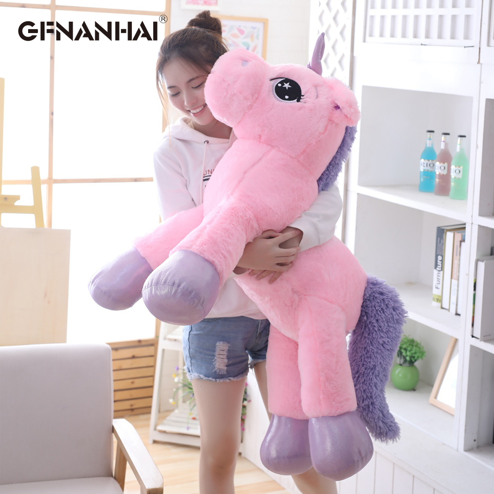 1pc 80/110cm Giant Size Cute Unicorn Plush Toy Lovely Animal Unicorn Pillow Stuffed Soft Toys Home Decor Children Birthday Gift northern europe style double 3d printing ins doll plush sofa stuffed animal child toys birthday xams gift dash pillow cushion