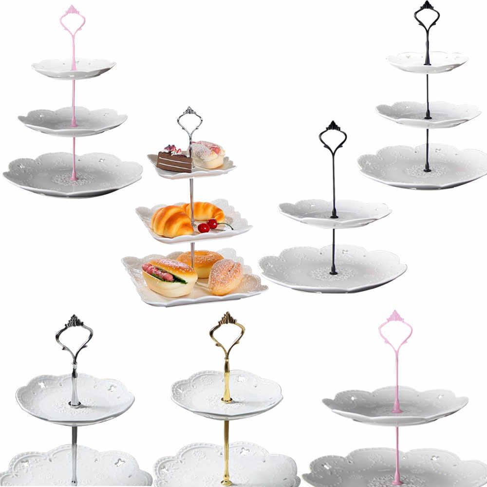 2 Tier sprzętu 3 Tier korona Metal Cupcake stojak piętrowy na ciasto montażu złoty 10 cm/12 cm ciasto uchwyt na półkę bez płyty przybory do pieczenia