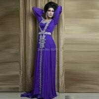 Luxury Crystal Caftan Kaftans Prom Dresses Long Sleeve Purple Arabic Abaya Islamic Clothing for Women robe de soiree