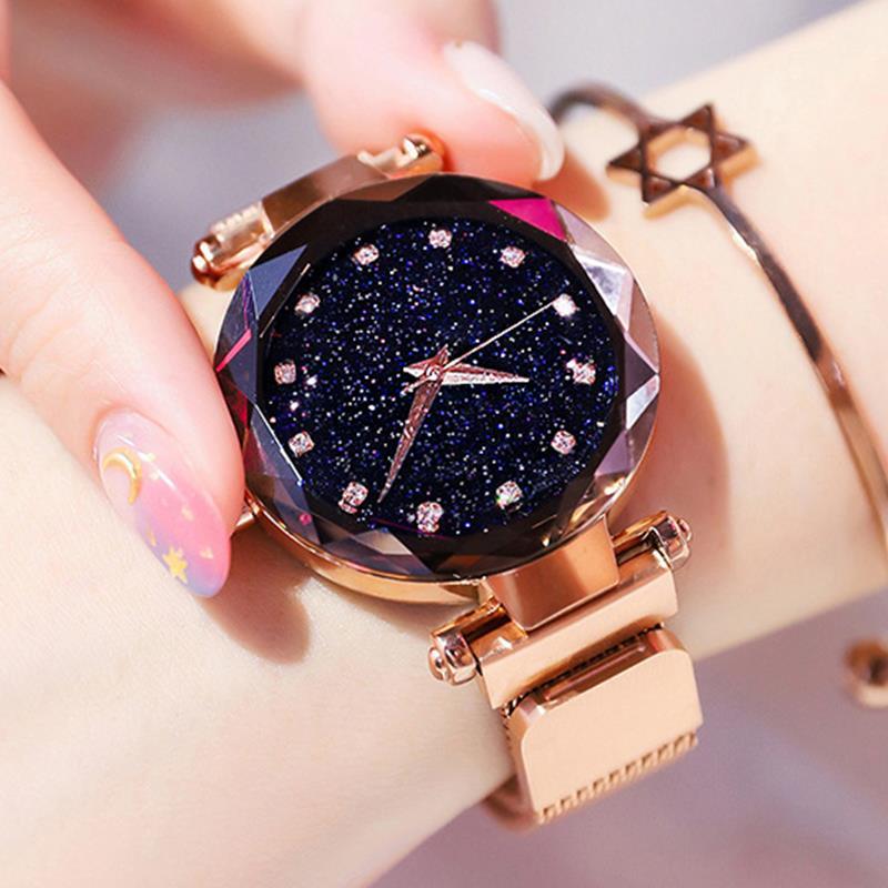 Oro rosa de lujo relojes de mujer cielo estrellado cielo magnético mujer reloj impermeable de diamantes de imitación reloj relogio femenino montre femme