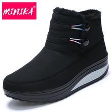Minika 2017 Hiver Chaussures Femme Plate-Forme Bottes Garder Au Chaud Neige Bottes Spli-Sur Coton Cheville Bottes Femmes Plus En Peluche Chaussures de femmes