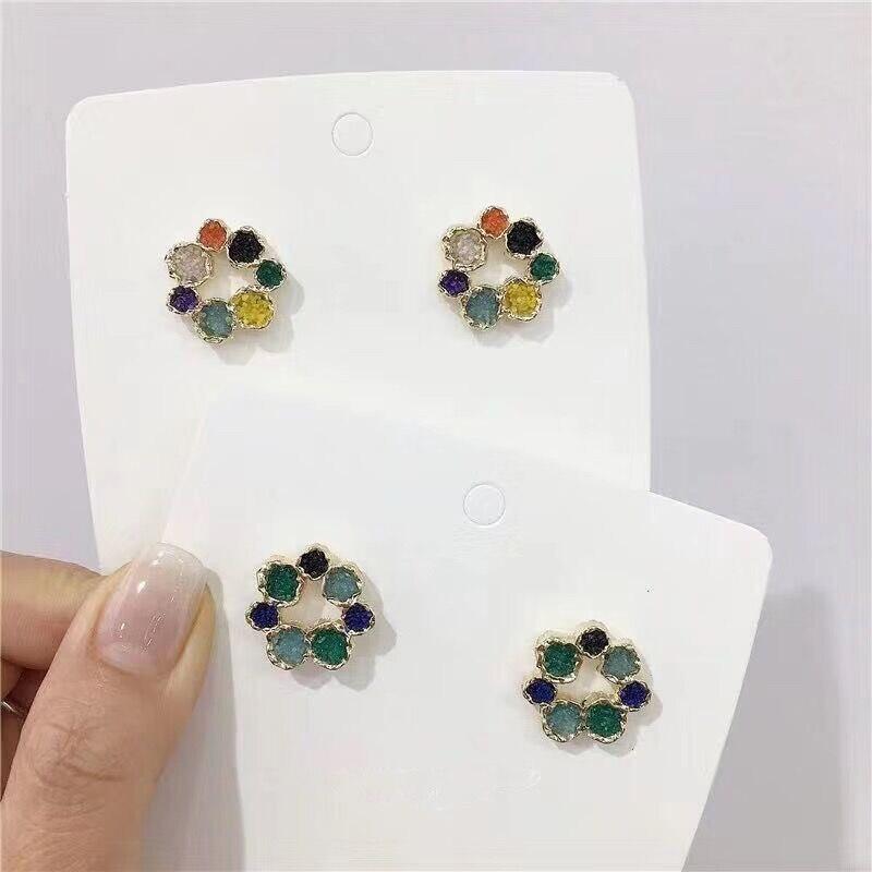 MENGJIQIAO 2019 New Korean Metal Cute Flowers Stud Earrings For Women Elegant Cute Pendientes Mujer Jewelry Accessories