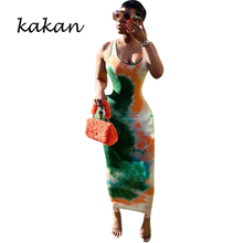Kakan new womens sexy tie-dyed print dress summer hot temperament commuter long