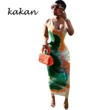 Kakan Новая женская секси галстук окрашенная платье с принтом