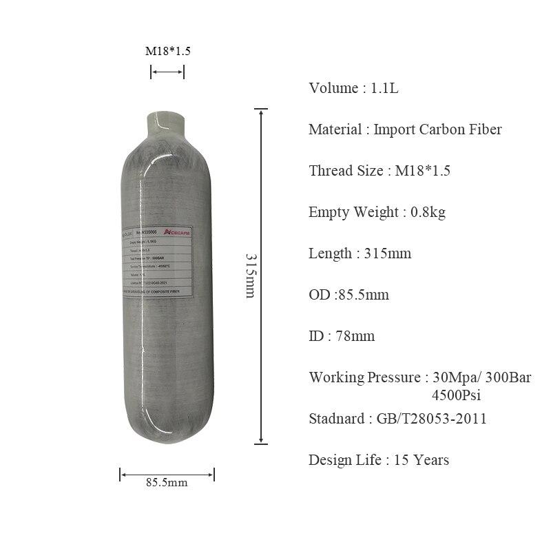 AC3011 Новый 1.1L 4500PSI PCP Пневмопушка Принадлежности для охоты для съемки AirRifle используется Углерода Firber цилиндр Пейнтбол Бак Acecare