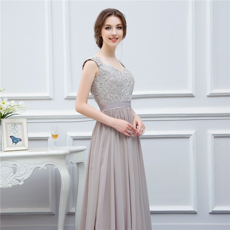 silver grey cap sleeve high quality applique floor length long chiffon bridesmaid dress wedding event dress maid of honor 5