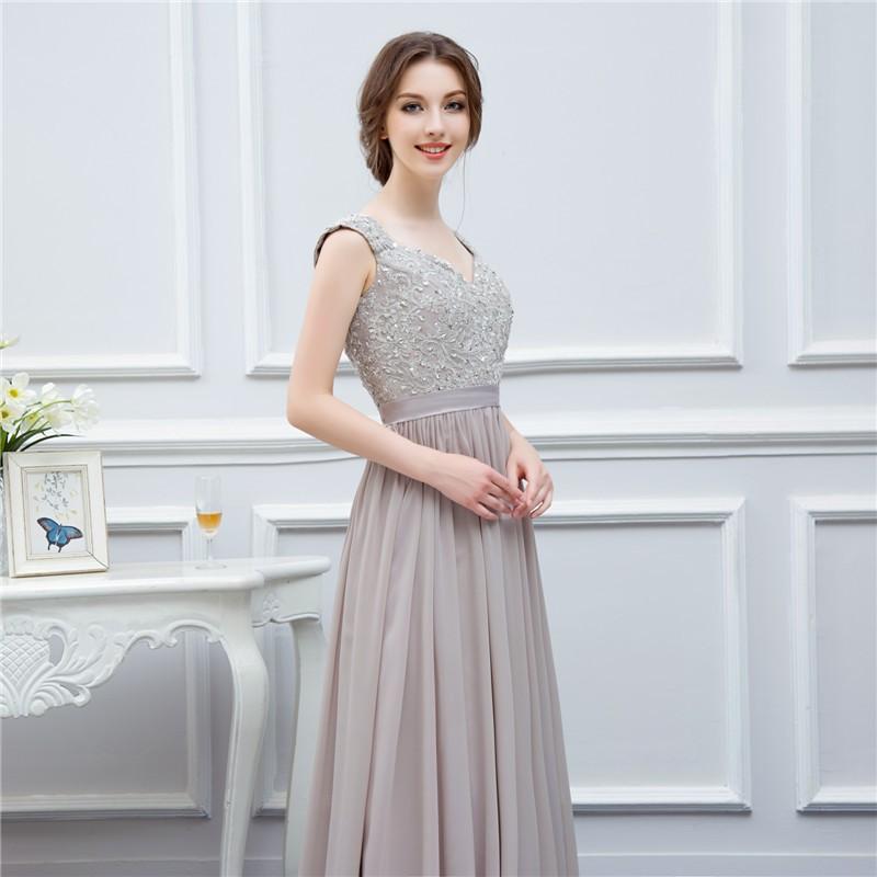 silver grey cap sleeve high quality applique floor length long chiffon bridesmaid dress wedding event dress maid of honor 5