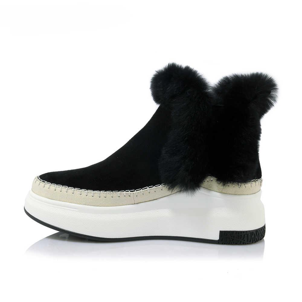 Meotina invierno mujer zapatos de cuero Natural botas de tobillo coser botas de piel de conejo plataforma cuñas zapatos de tacón alto botas de mujer
