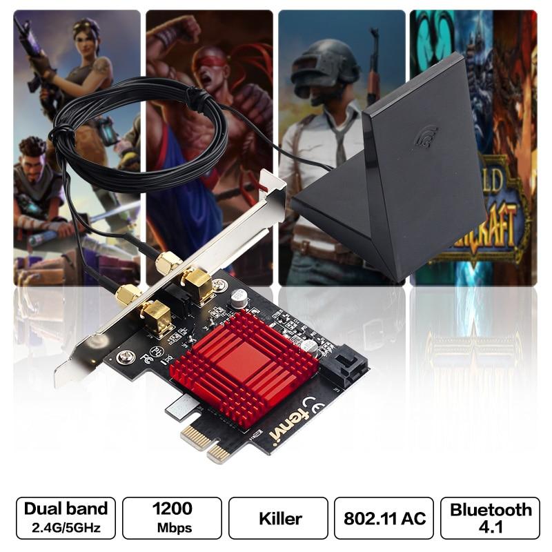 Dual band Killer AC 1200Mbps 802 11ac Wifi Gaming Desktop Wireless PCI E Adapter Wifi Bluetooth