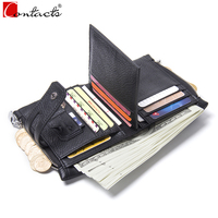 CONTACT S Genuine Leather Men Wallets Fashion Purses Dropshipped Gift Mini Wallet Designer Women Wallets Card
