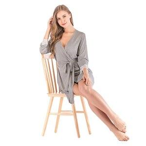 Image 5 - 2020 夏の女性の着物ローブ Soild パジャマナイトウェア女性ソフトモーダルカジュアル浴衣ベルトエレガントなバスルームスパローブ