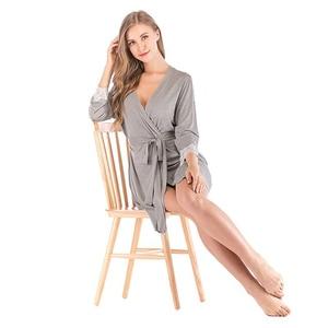 Image 5 - 2020 Summer Women Kimono Robe Soild Sleepwear Nightwear Female Soft Modal Casual Bathrobe Belt Elegant Bathroom Spa Robe