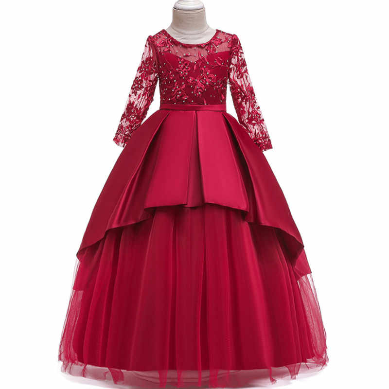 Весенне-осеннее Элегантное свадебное платье подружки невесты в европейском и американском стиле для девочек детское платье принцессы