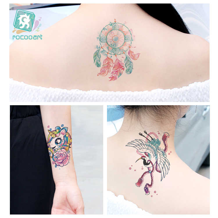 66050aff9 ... Latest FC Series 2018 Beauty Water Color Tattoo With Seaworld Magnolia  Unicorn Butterfly Body Temporary Fake ...
