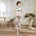 White Print Flower Summer Lady Casual Long Dress Chinese Style Women Satin Cheongsam Sexy Slim Qiapo S M L XL XXL XXXL C0055