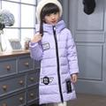 2016 Зима Девочка Вниз пальто куртки длинные модели толстые теплые детские 100% утка вниз Верхняя Одежда и Пальто девочка пуховик