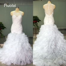 Gorgeous Real Picture White Wedding Dress 2016 Sweetheart Mermaid Beaded Bodice Tiered Wedding Gown 2016 Tulle Bridal Gown FW12