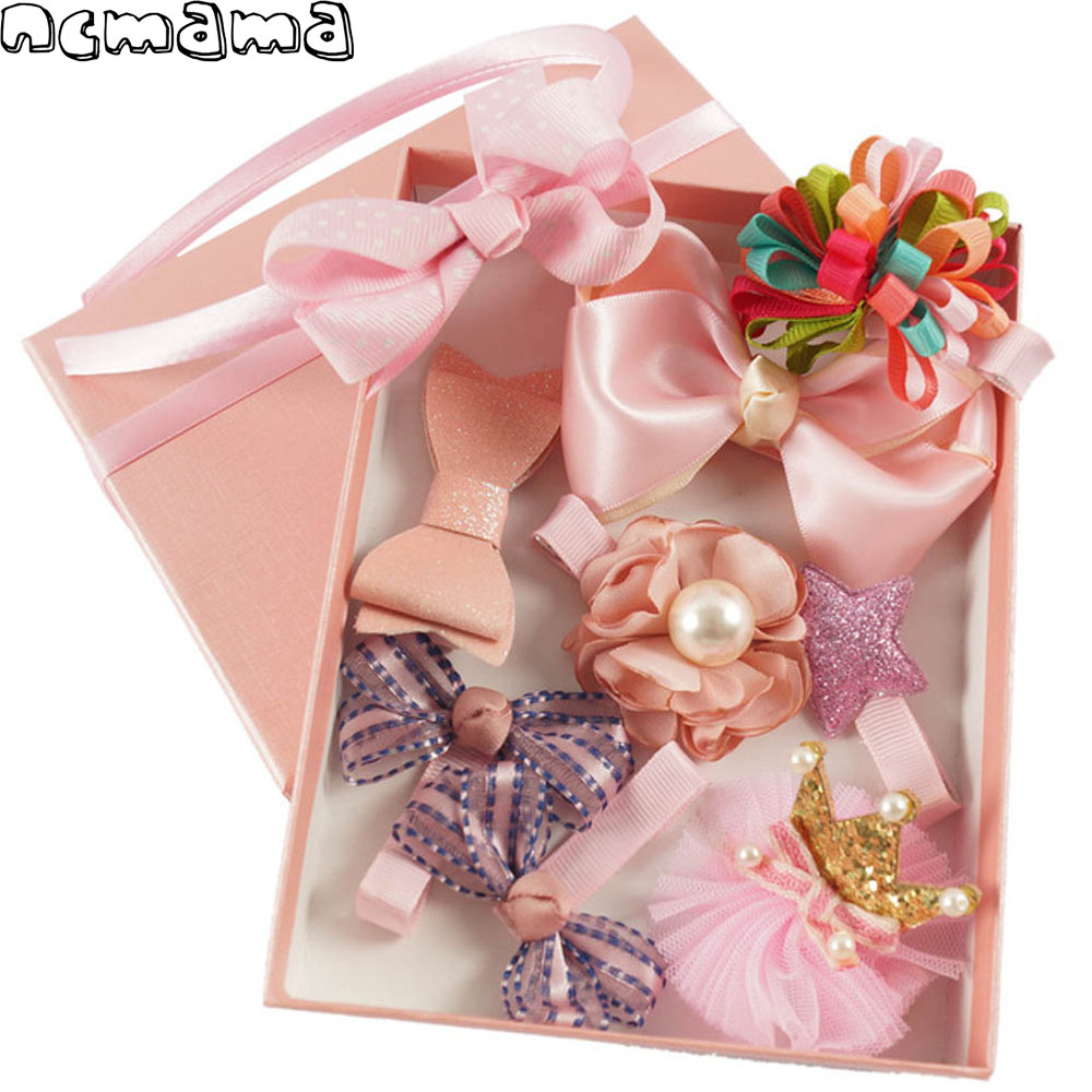 Mix Set with Floral Hair Clips Hairbows Bow Hairbands for Girls Boutique Handmade Children's Hair Accessories 9 Pieces per Box rechargeable hair clipper with accessories set 220 240v ac