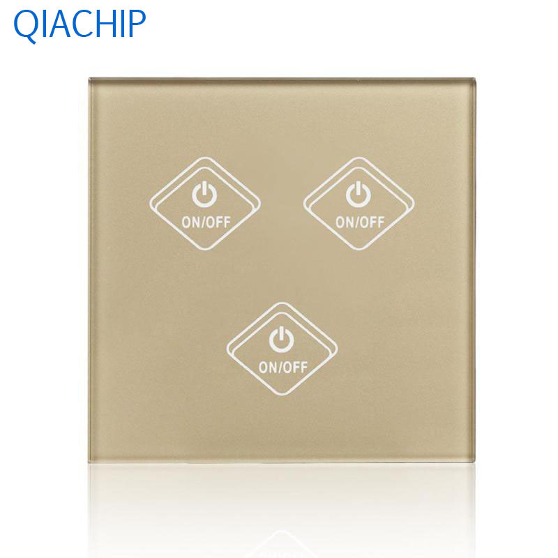 UK Standard Touch Switch 3 Gang Light Wall Switch Interruptor Touch Luxury Gold Tempered Glass Panel APP Control Smart Switch uk standard smart home 3 gang1 way light switch with remote controller crystal tempered glass panel wall touch ac220v