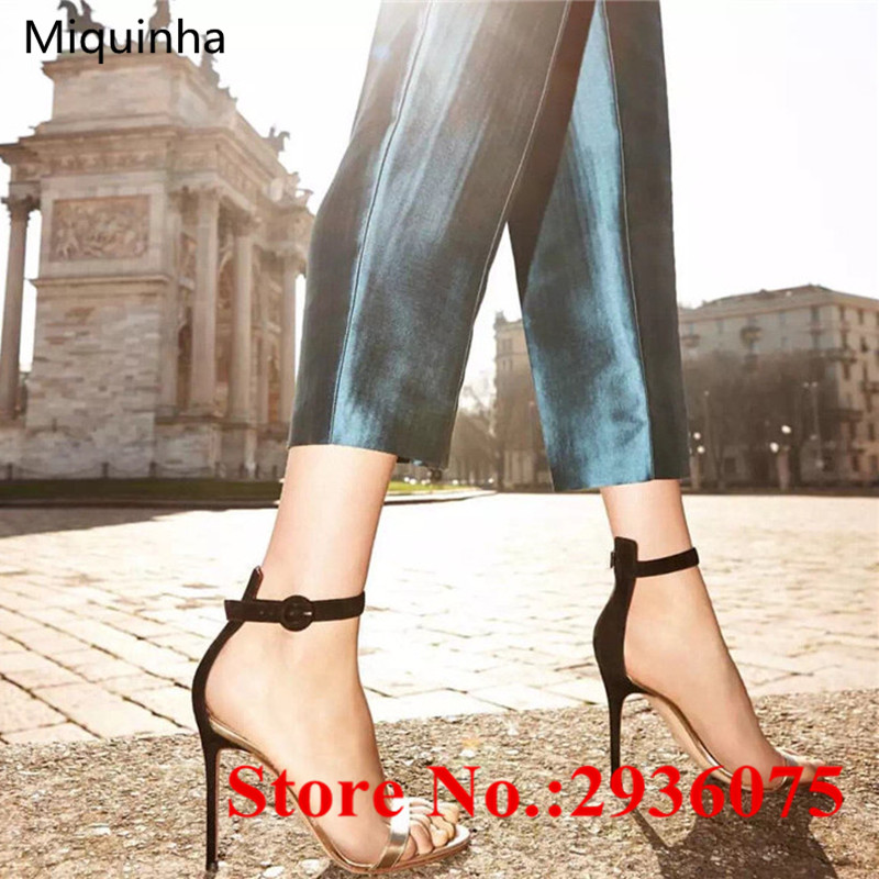 ФОТО New Metallic Leather White Mixed Color Ankle Strap Ladies Sexy Summer Sandals Shallow Cut-Outs Buckle High Heels Sandalias Mujer