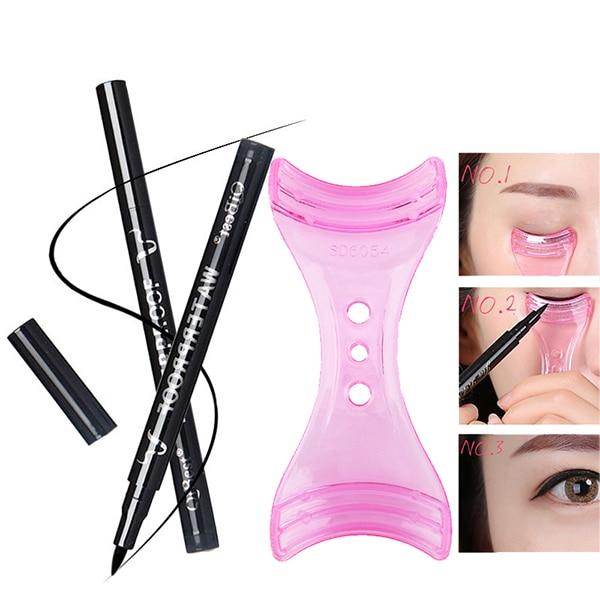 Makeup Eye Liner Waterproof Long Lasting EyeLiner Pen +Eyeliner Aids Balck Liquid Eyeline Pencil Easy to Wear Eyeliner Stencil