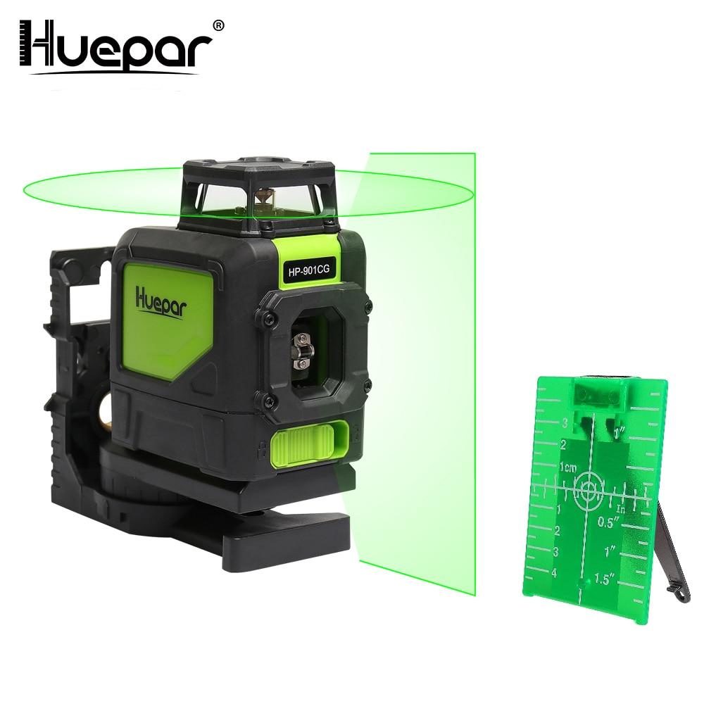 Huepar Livello del Laser Verde Fascio Laser Croce Self-leveling 360-Gradi di Copertura Linea Orizzontale e Verticale con 2 pluse Modalità