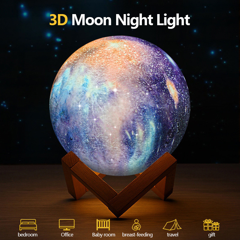 Rechargeable Moon lamp Moon Light 3D Print LED Night Lampe Bedside Children's Night Light Desk Decor Novelty Gift Drop shipping