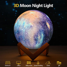 Rechargeable Moon lamp Light 3D Print LED Night Lampe Bedside Childrens Desk Decor Novelty Gift Drop shipping