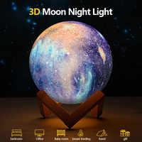 Wiederaufladbare Mond lampe Mond Licht 3D Print LED Nacht Lampe Nacht Kinder der Nacht Licht Schreibtisch Dekor Neuheit Geschenk Drop verschiffen