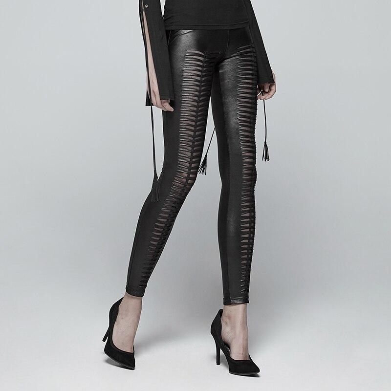 PUNK RAVE Neue Gothic Teufel Fußabdrücke Schwarz Frauen Leggings Mode Aushöhlen Punk Stretchy weibliche Dünne Sexy Dark Hosen - 3