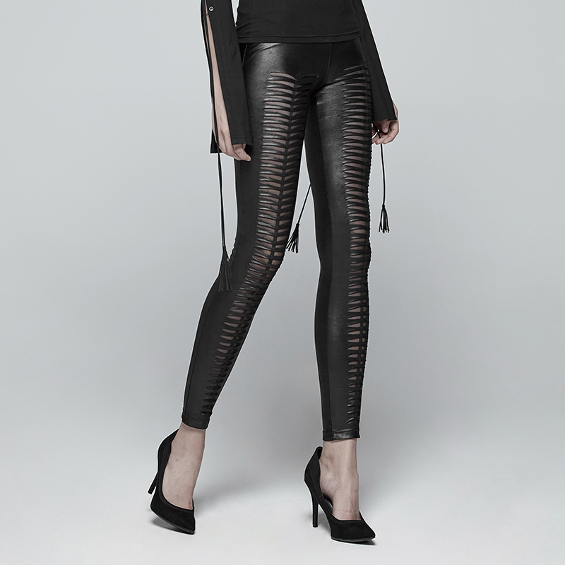 Steampunk Gothic PU Leather Hollow Out Vertical Stripe Leggings For Women Punk Black Sexy Low Waisted Women Skinny Trousers - 3