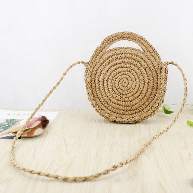 Bulat Tali Kertas Tas Pantai Musim Panas Mini Vintage Handmade Selempang  Kulit Tas Lingkaran Tas Rotan 5db4e51ef5