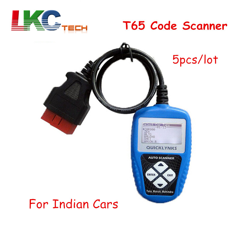 5pcs/lot DHL Free Best Price T65 Code Scanner for Indian Cars Auto OBD2 OBDII Code reader for Tata/Maruti with Retail Box