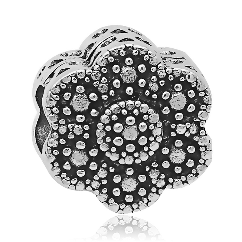 2018 New Arrivals 1PC Silver Vintage Flower European Bead Charms Fit Pandora Bracelet & Bangle Jewelry Making Findings