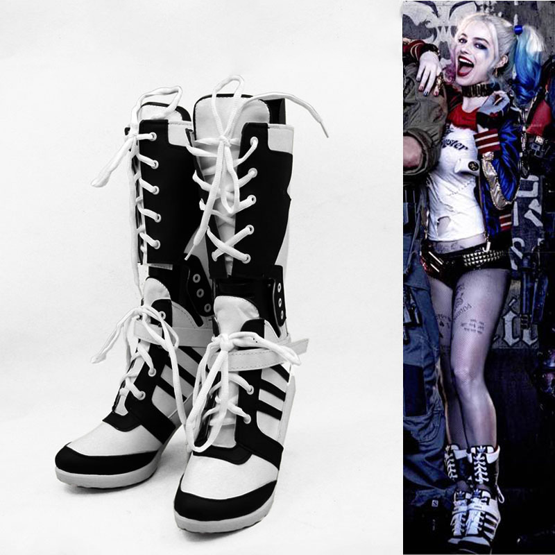 64465ecfa7d Aliexpress.com   Buy Batman Suicide Squad Harley Quinn Cosplay Costumes Shoes  High heeled Boot Unisex Customized Free Shipping from Reliable harley quinn  ...