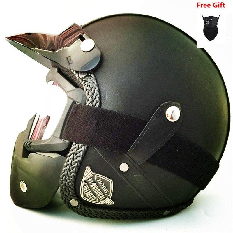 Vente chaude PU cuir Harley casques 3/4 moto Chopper casque de vélo vintage moto casque avec masque de lunettes