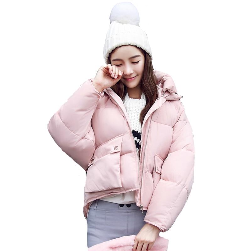 Fashion 2019 Winter Jacket Women Hooded Stand Collar Cotton Womens Basic Jackets Outwear Female Coat Short Coats Chaqueta Mujer