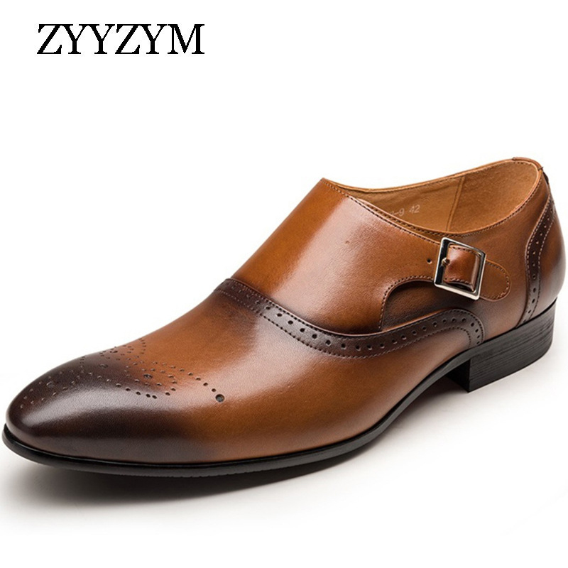 ZYYZYM Men Brogue Shoes Plus Size Business Casual Leather Point Toe Party Dress Zapatos De Hombre
