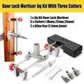 8 unids Mortice puerta plantilla cerradura mortaja DBB clave JIG1 con 3 cortadores nueva herramienta de mantenimiento de