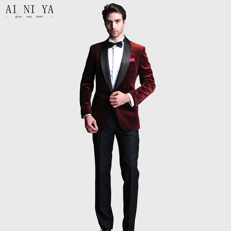 mens designer 2 Piece Mens Velvet Fabric suits Burgundy Groom Tuxedos Wedding Suits Custom Made Groomsmen Best Man Prom S