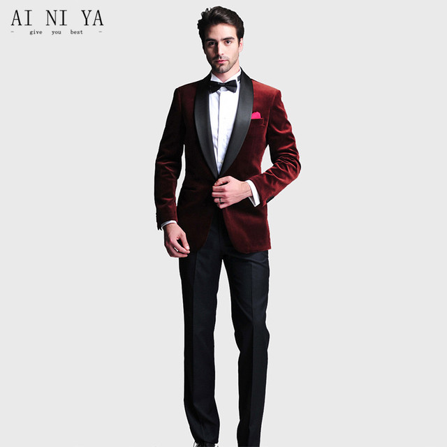 mens designer 2 Piece Mens Velvet Fabric suits Burgundy Groom ...