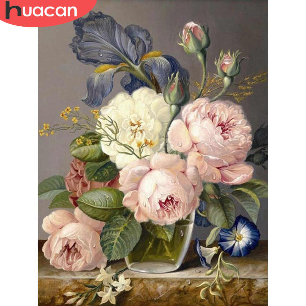 HUACAN Full Drill Square 5D DIY Diamond Embroidery Flowers Picture Of Rhinestone Diamond Painting Handmade Wall Stickers