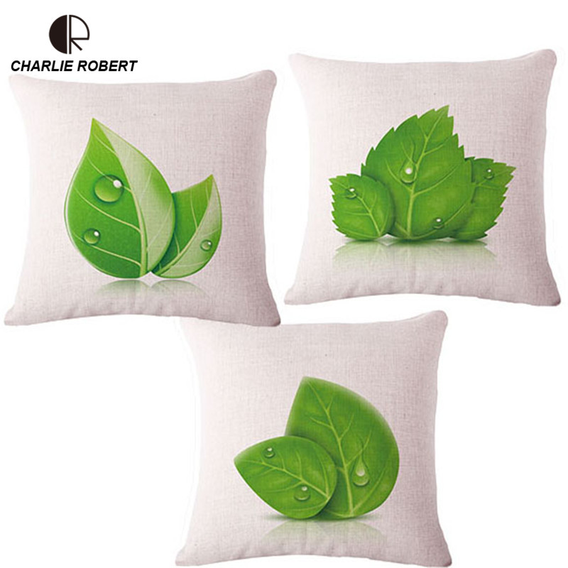 Hoja verde brillante Cojines hogar sofá decorativo tiro Almohadas