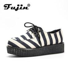 Fujin Brand Lace Up Flower Platform Flat Women Shoes Spring Autumn Stripe Creepers Female Loafers Sneakers Ladies Footwear