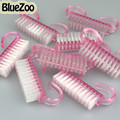 BlueZoo Nuevo 100 unids/lote Rosa Cepillo del Polvo de Limpieza de Herramientas de Manicura Pedicura Arte de Uñas de Plástico Para Ventas Al Por Mayor